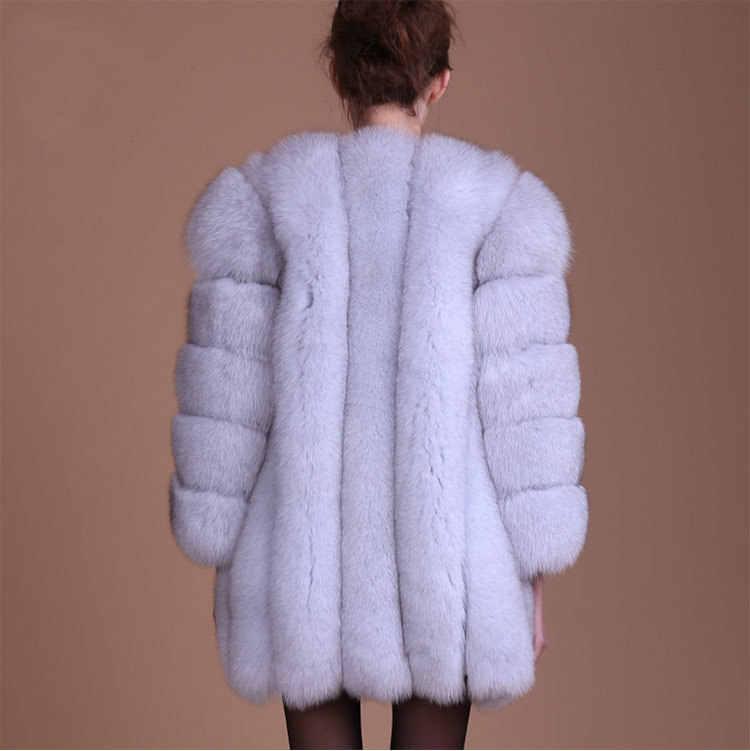 84f3a00d8c ... TIARAKA 2018 New Winter Coat Women Faux Fox Fur Coat Plus Size Women  Stand Collar Long ...