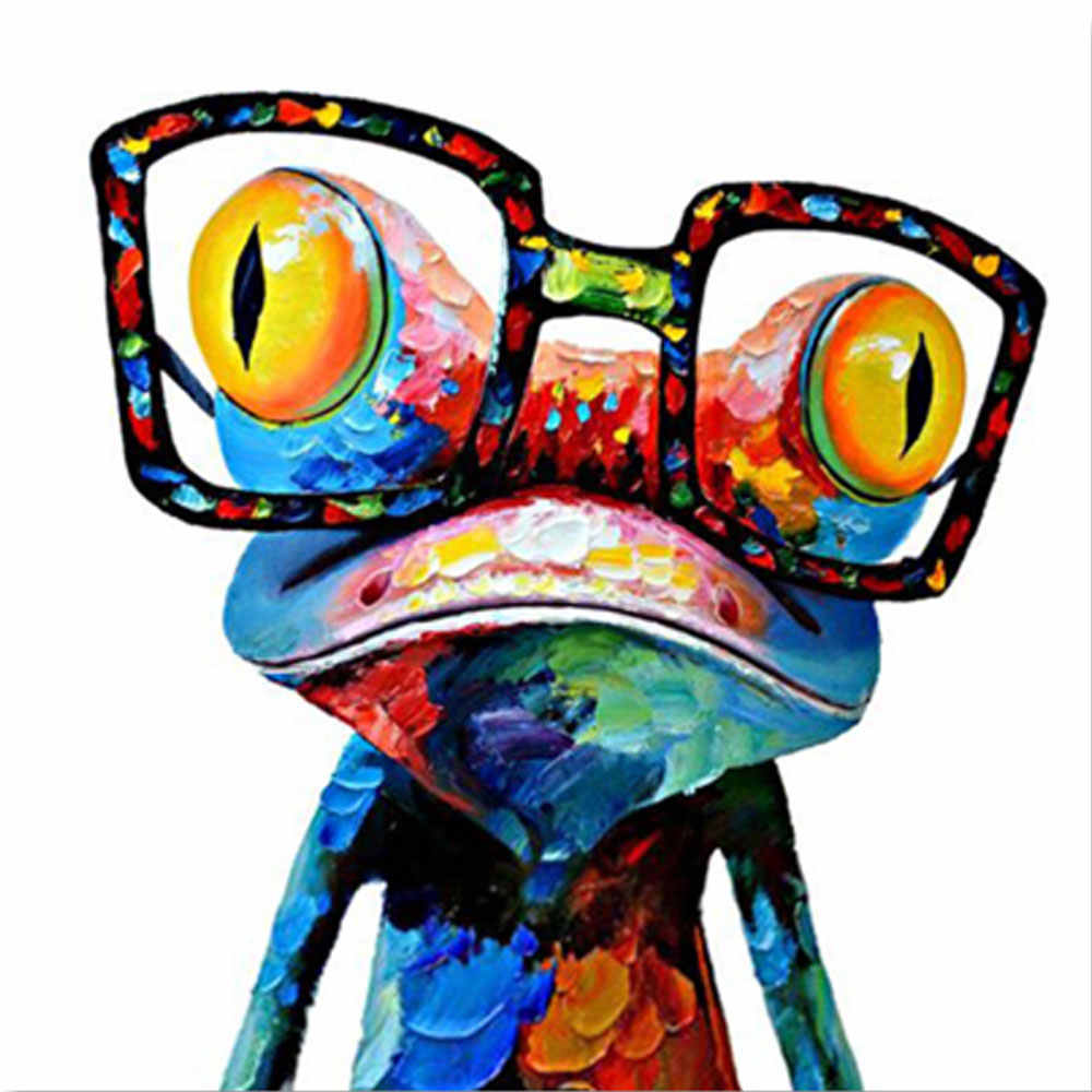 Wall Art Poster Animal Painting Canvas Art The Frog With Glass Wall Pictures For Living Room Home Decor No Frame