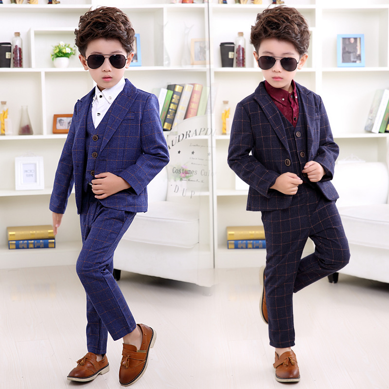 2017 spring New Child Blazers Suits Boy Clothing sets Coat + Pants + waistcoat 3piece  Baby Costumes plaid Kids Garment 2016 baby boy sets new style autumn spring baby clothing sets 2pc suits red plaid dark blue blazer infant set boys suits blazers
