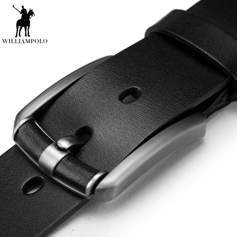 WilliamPolo Genuine Leather Men   Belt   Fashion designer   belt   Pin Buckle Leather   Belts   For Male Cowskin Waistband Strap PL073-74P