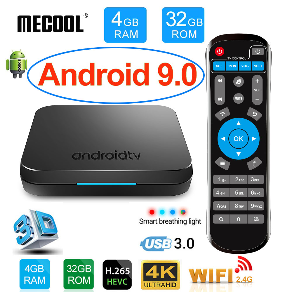 MECOOL KM9 Android 9.0 boîtier de smart tv Amlogic S905X2 DDR4 4 GB RAM 32 GB ROM USB3.0 4 K HDR 2.4 Ghz /5 GHz Wifi BT4.1 IPTV Set top box