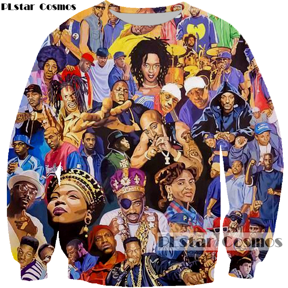 PLstar Cosmos 2019 New Fashion 3d Sweatshirts Rapper Singer Collage Print Hoodies Biggie/2pac Tupac Casual Pullovers Sportswear