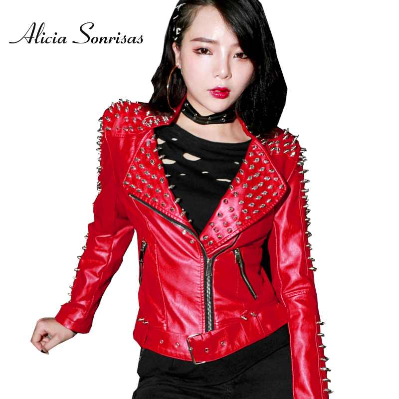 Red Punk Studded   Leather   Jacket Women Slim Rivets Washed PU Street Stand Collar Womens Spring Autumn Fleece   Leather   Coat