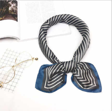 2019 New Style Heart Print Women Silk Scarf Square Shawl And Wrap Lady Hair  Neck Scarves Solid Color Soft Office Bandana Foulard