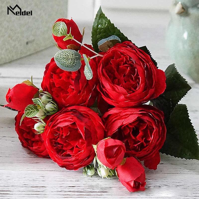 Meldel peonías artificiales flores poliéster 5 cabezas ramo de peonía blanco rosas de seda Rosa rojo boda decoración del hogar flores falsas