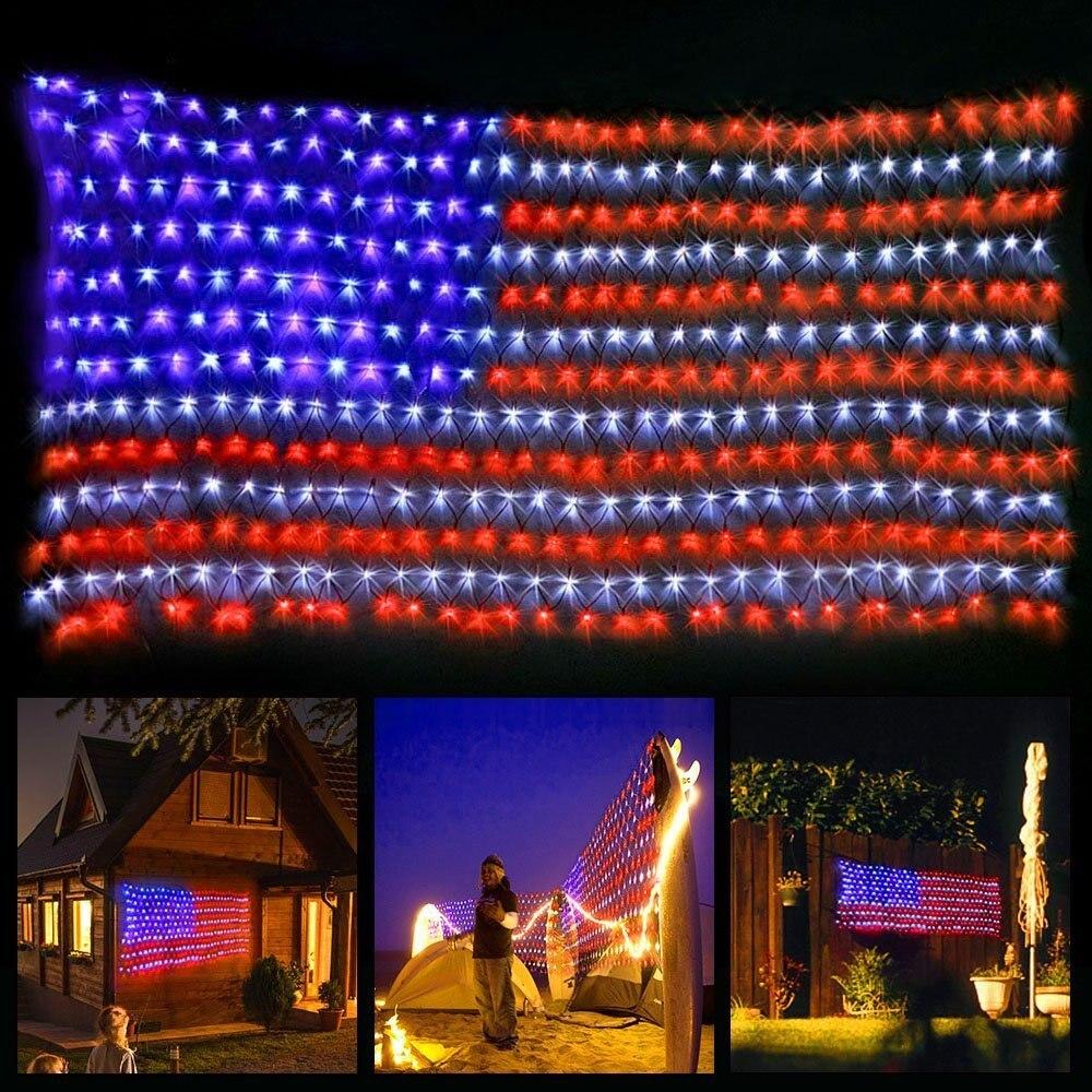 Américain Led Drapeau Lumière avec 420 LED Super Lumineux Étanche Décoration Extérieure Jardin