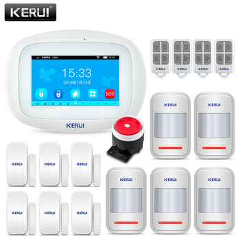 цена на KERUI K52 Wifi GSM APP Control Alarm Set For Home Security GSM SMS 4.3 Inch TFT Color Wireless IOS/Android Burglar Alarm System