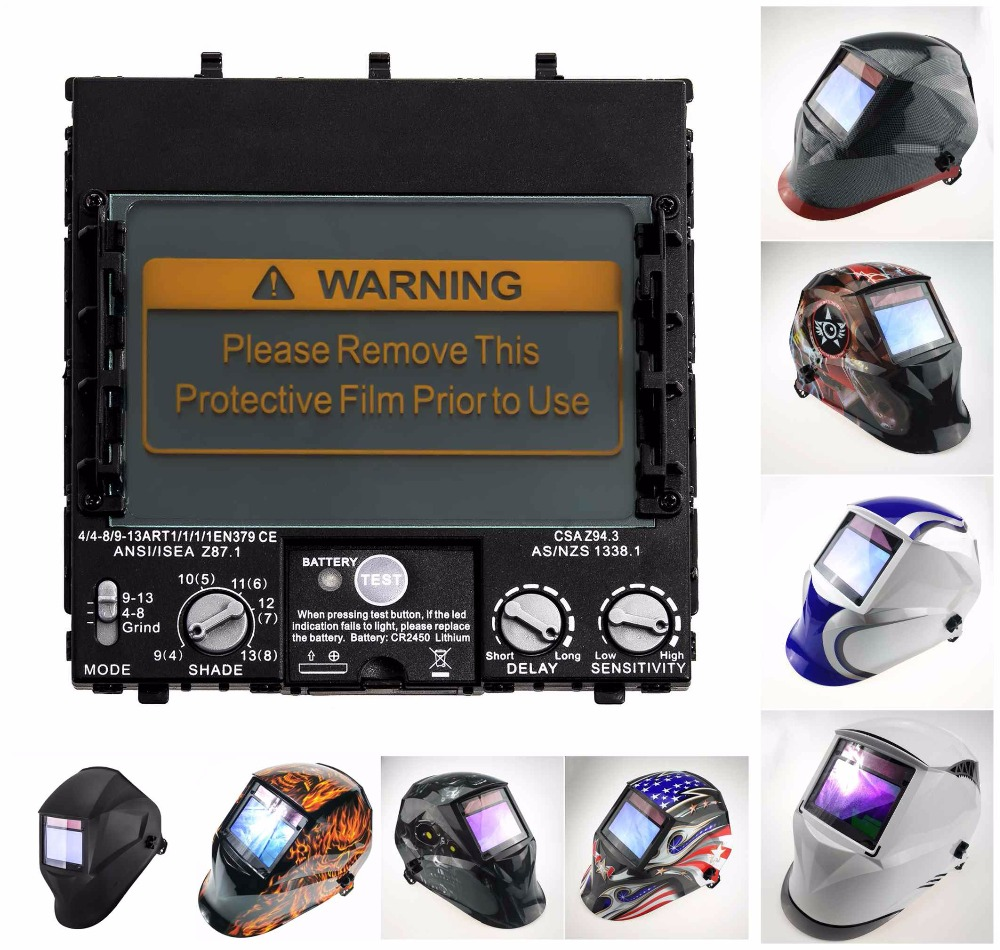 Welding Filter View Size 100x65mm (3.94x2.56in) Solar 4 Sensors Auto Darkening 1111 Full Range Shade 4(3)-13 For Welding Helmets