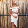 2016 new summer style women 2 two piece one set off shoulder celebrity cocktail party sexy slim bandage dress dropshipping HL540