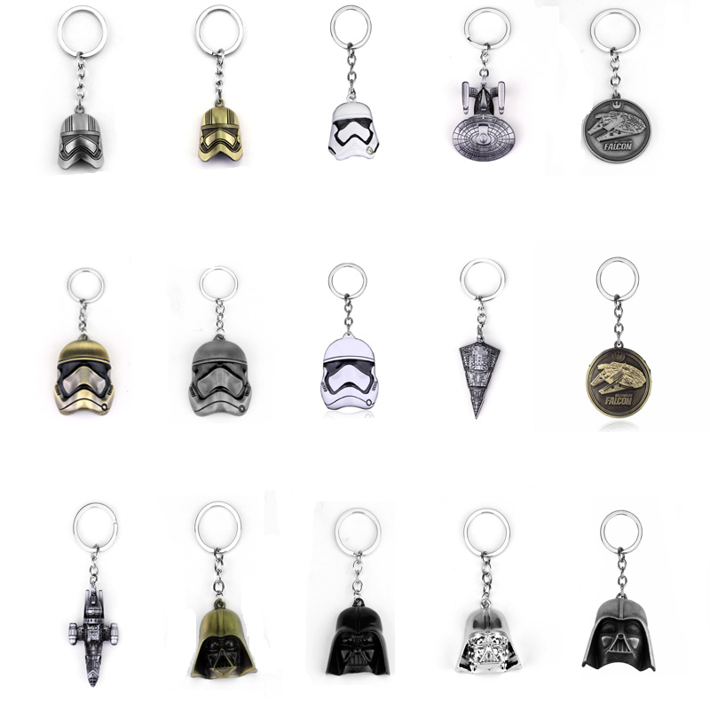 2017 Hot Game Movie Star Wars Series Keychain Spacecraft Storm Trooper Helmet Milennium Falcom 3D Darth Vader Key Chain Jewelry
