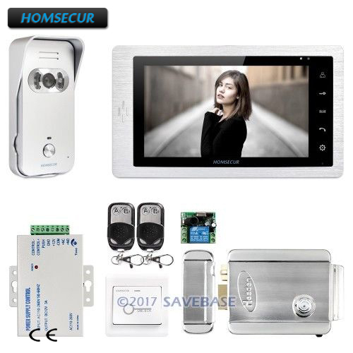 HOMSECUR 7 Video Door Entry Phone Call System 1C1M+Electric Lock+Silver Camera for Apartment homsecur 9inch wired video door entry phone call system black camera for apartment