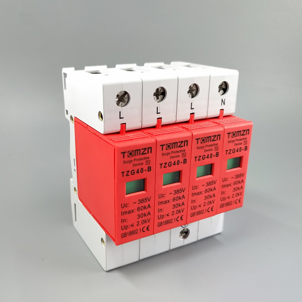 AC SPD 3P+N 30KA~60KA D ~385V  House Surge Protector Protective Low-voltage Arrester DeviceAC SPD 3P+N 30KA~60KA D ~385V  House Surge Protector Protective Low-voltage Arrester Device