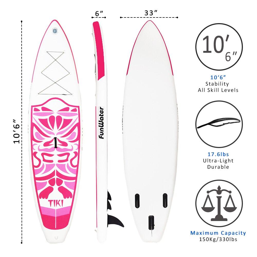 Cadeaux du Jour de Valentine FunWater Gonflable Paddle Board Sup Paddle, Sac, Laisse, Pompe, sac de téléphone stand up paddle surf sup - 5