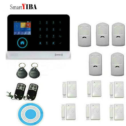 SmartYIBA WIFI IOS/Android APP Control Wireless GSM SMS Autodial Alarm System+Door Sensor+Blue Siren+Motion Detector+Remotes 1 set new model wifi and gsm dual network support ios andriod app control alarm system sms wireless pir motion detector