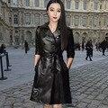 Краткое новая 2015 осенне-летний мода женщин полный рукав черный двубортный пояса высокое качество винтаж длинный тонкий кожаное пальто