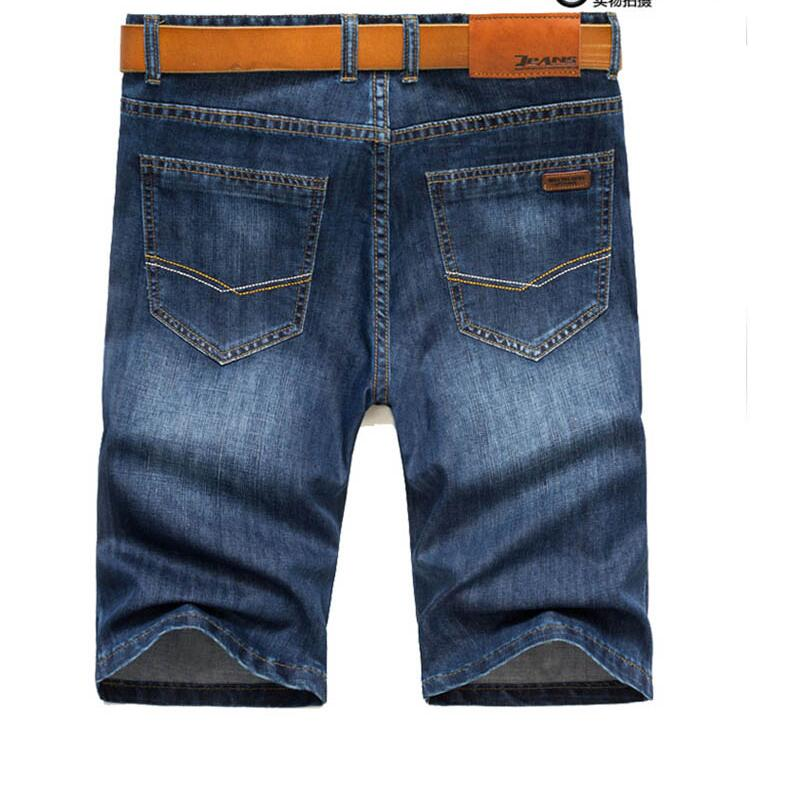 High Quality Men Straight Short Jeans Mens Summer Blue Denim Shorts New Male Solid Lightweight Short Jeans Size 38