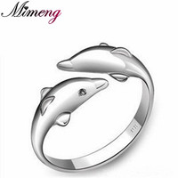 Fine Jewelry 2014 NEW Engagement Ring 100 Genuine 925 Sterling Pure Silver Dolphin Women Ring TOP