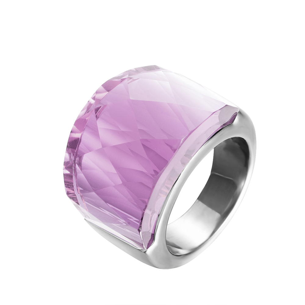 ZMZY Big-Rings Stainless-Steel Jewelry Fashion Women Wedding Glass for Pink 4-Color To