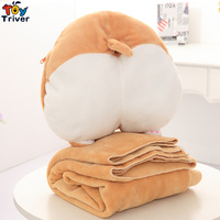 Plush Corgi Dog Butt Arse Portable Blanket Hand warm Cushion Toy Doll Baby Kids Shower Car Office Nap Carpet Birthday Gift