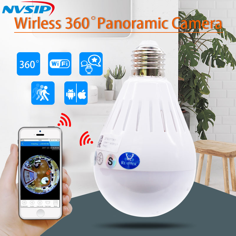 LED Light 960P Wireless Panoramic Home Security WiFi CCTV Fisheye Bulb Lamp IP Camera 360 Degree Night Vision купить в Москве 2019