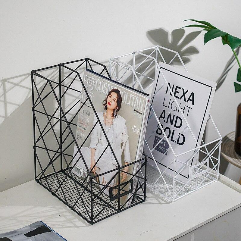 Ins Grid Iron Storage Rack Household Desktop Book Magazine Finishing Shelf Metal Creative Simple Office File Management Case