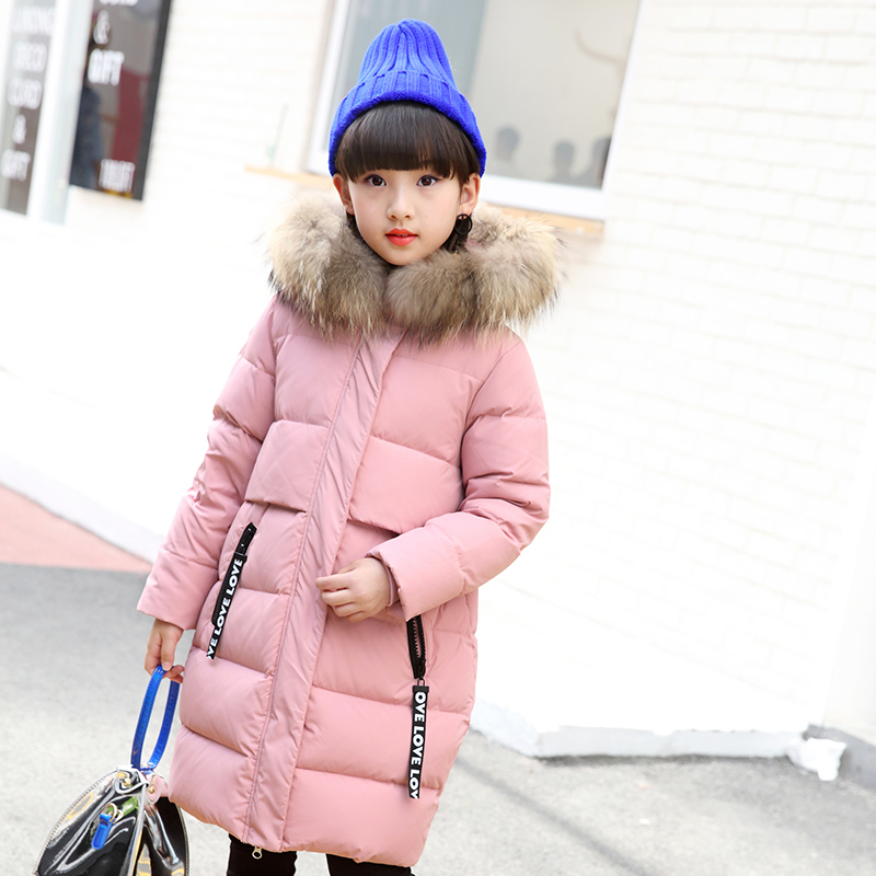 Children Down Coats Girls Down Jackets Natural100% Fur Collar Hooded down jacket for girl Cold -30 degree Jacket Warm Coat 30# 2017 fashion teenage girl winter down jackets fur collar children coats warm thick kids outerwears for cold 30 degree jacket