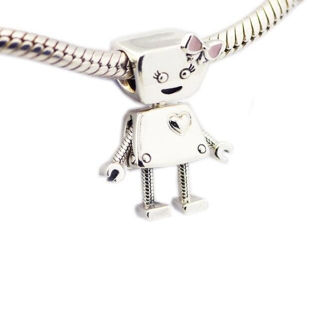 ea004b945 CKK 925 Sterling Silver Jewelry Bella Bot Charm, Pink Enamel Charms Beads  Fits Bracelets For Jewelry Making