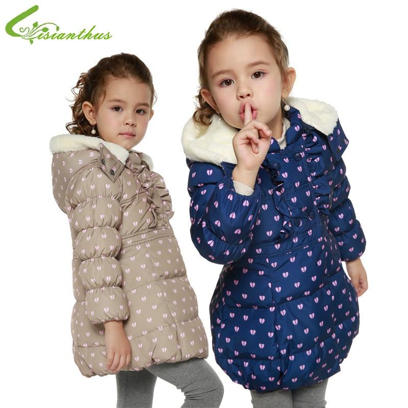 ФОТО Children Girls Down Jackets Kids Winter Coats Hooded Fur Collar Outwears Sweet Hearts Clothes Long Princess Clothing Drop Ship