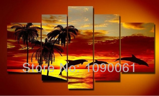 Handpainted Modern Oil Wall Art Dolphins Decor Landscape Sunset Beach And Palm Tree Painting 5 Panel