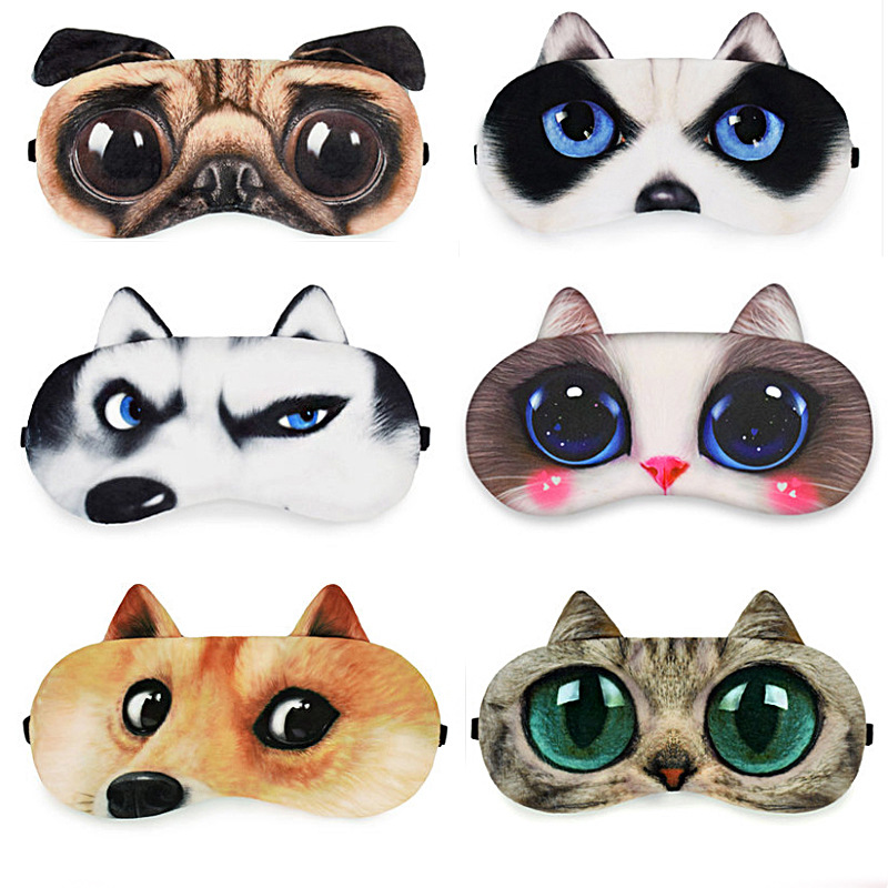 Cute Cat Sleep Mask Eye Mask Eyeshade Cover Shade Natural Sleeping Eye Patch Women Men Soft Portable Blindfold Travel Eyepatch