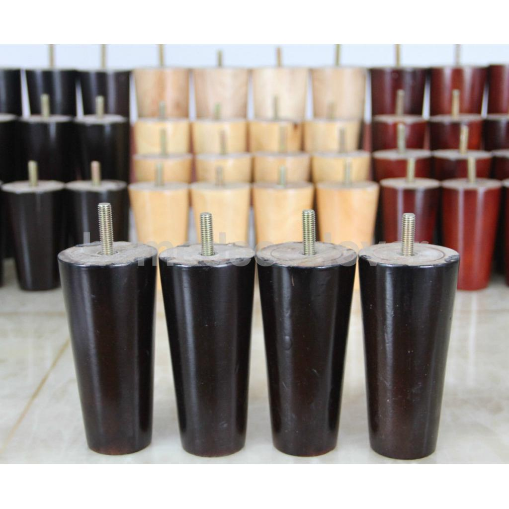 Image 2 - 4Pcs 5inch Height Cone Shape Eucalyptus Solid Wood Furniture Sofa Legs Black-in Furniture Legs from Furniture
