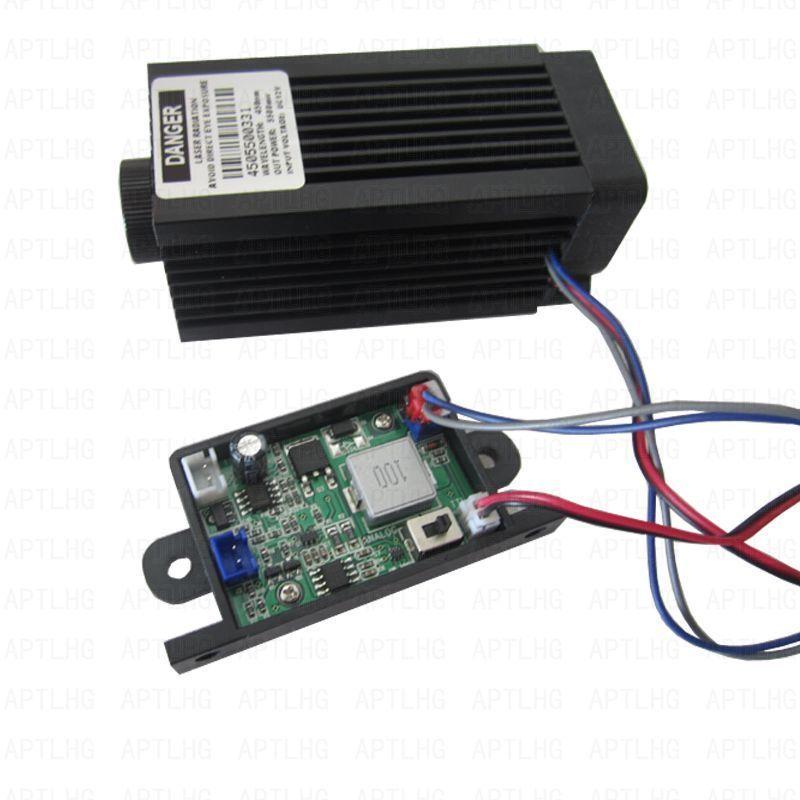 DIY 5,5 Вт высокой мощности 445NM фокусировки синий лазерный модуль лазерной гравировки и резки ttl модуля 5500 МВт лазерная трубка + googles