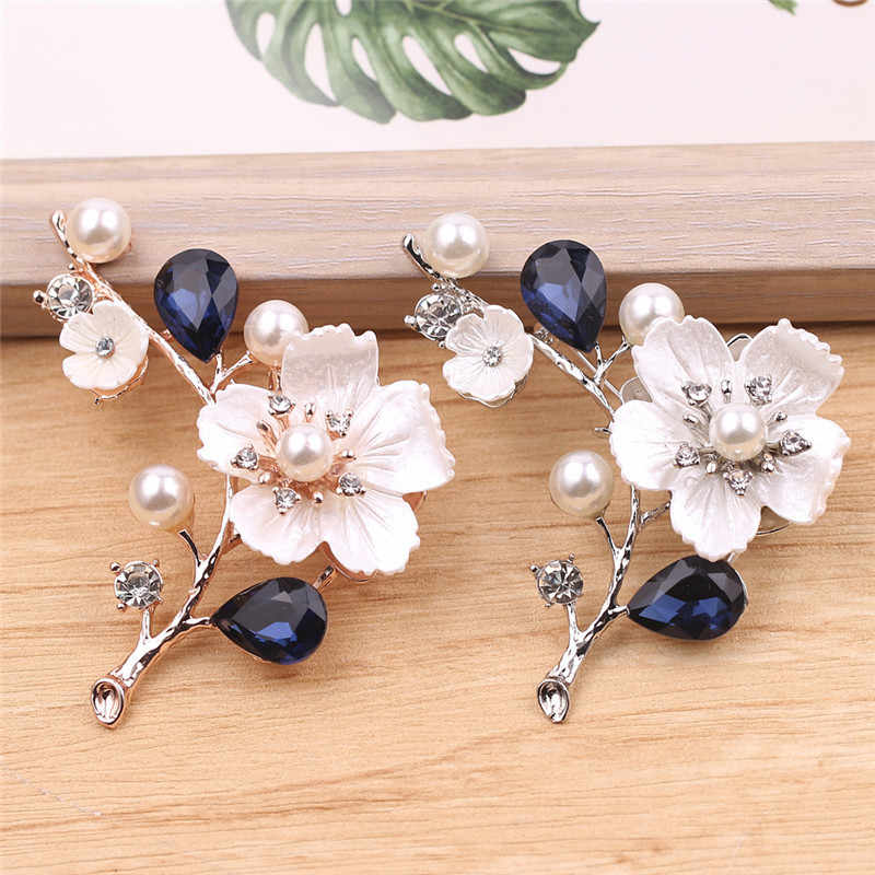 2019 New Popular Silver Rose Gold Colors Plum Pearl Rhinestone Brooch Pin High Grade Dancing And Party For Women Gift