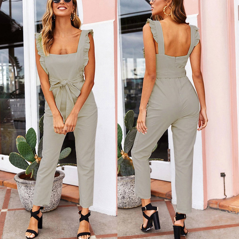 New Arrival Women Shirred Frill Sleeves Jumpsuit Waist Belted Solid Color for Summer in Jumpsuits from Women 39 s Clothing