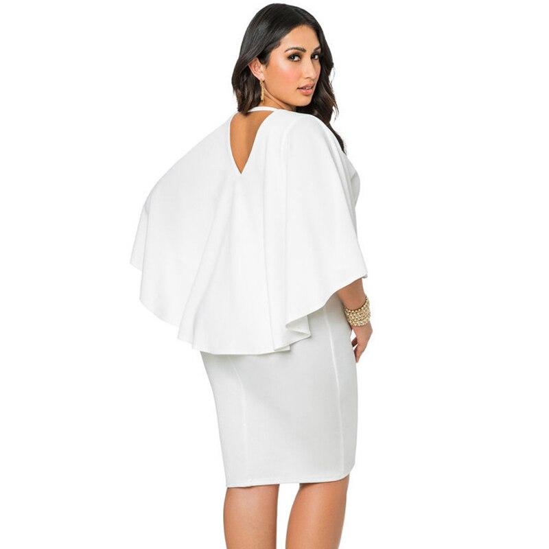 b0da3818b3 US $9.98 40% OFF|Fashion Women Plus Size 3XL Cape Dress Draped Cloak Solid  Bodycon Party Pencil Summer Dresses Midi 2019 New Vestidos Elbise-in ...