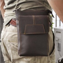 High Quality New Men Genuine Leather Belt Fanny Waist Pack Cell/Mobile Phone Pocket /Designer Purse Money Bag