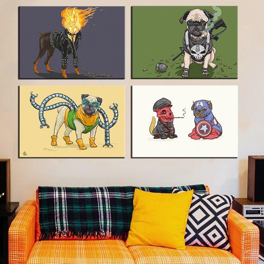 Super hero hunde leinwand kunstdruck malerei poster, Wandbild für ...