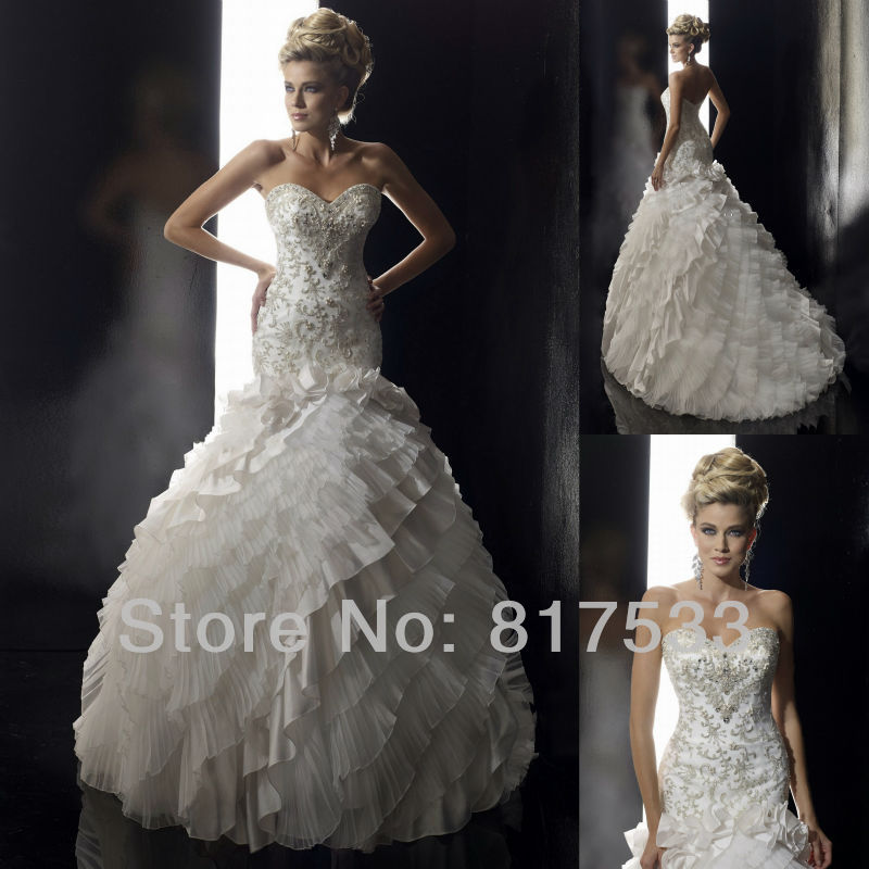 Wedding Ball Gowns 2014: Crystal Embellished Wedding Gowns Victorian Bridal Dresses