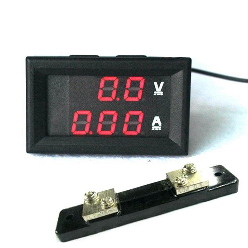 2 en 1 DC Volt Amp Medidor de pantalla dual 0.28