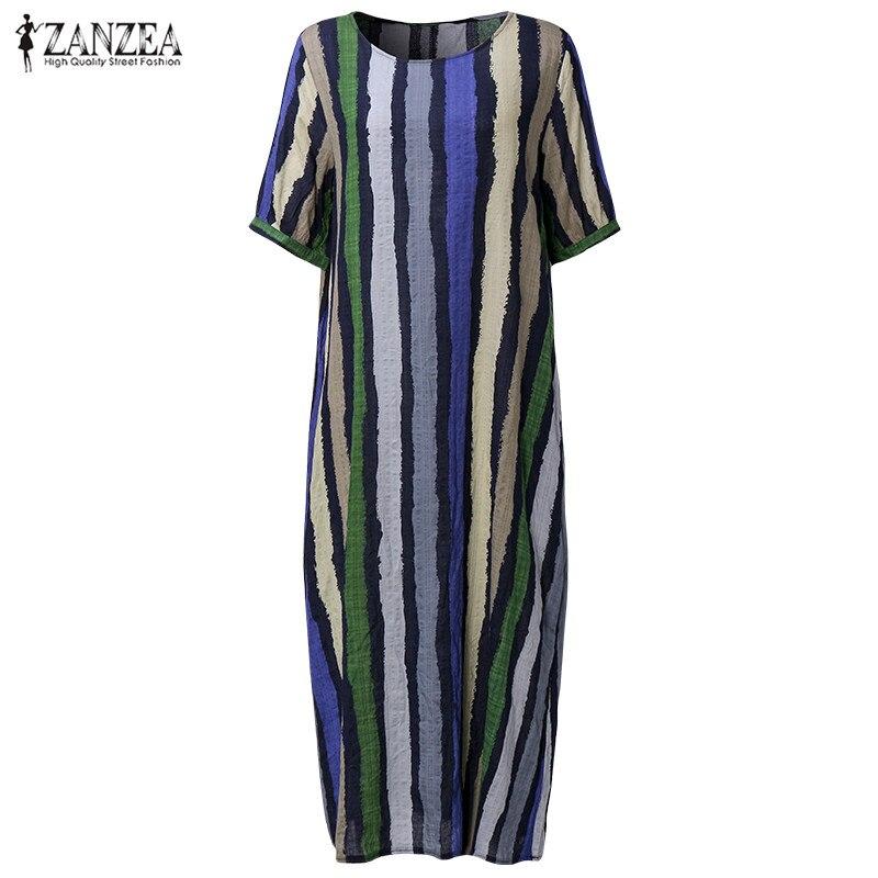 ZANZEA Women Striped Dress 2018 Summer Long Maxi Party Dresses Casual Loose Short Sleeve Fashion Casual Vestidos Plus Size
