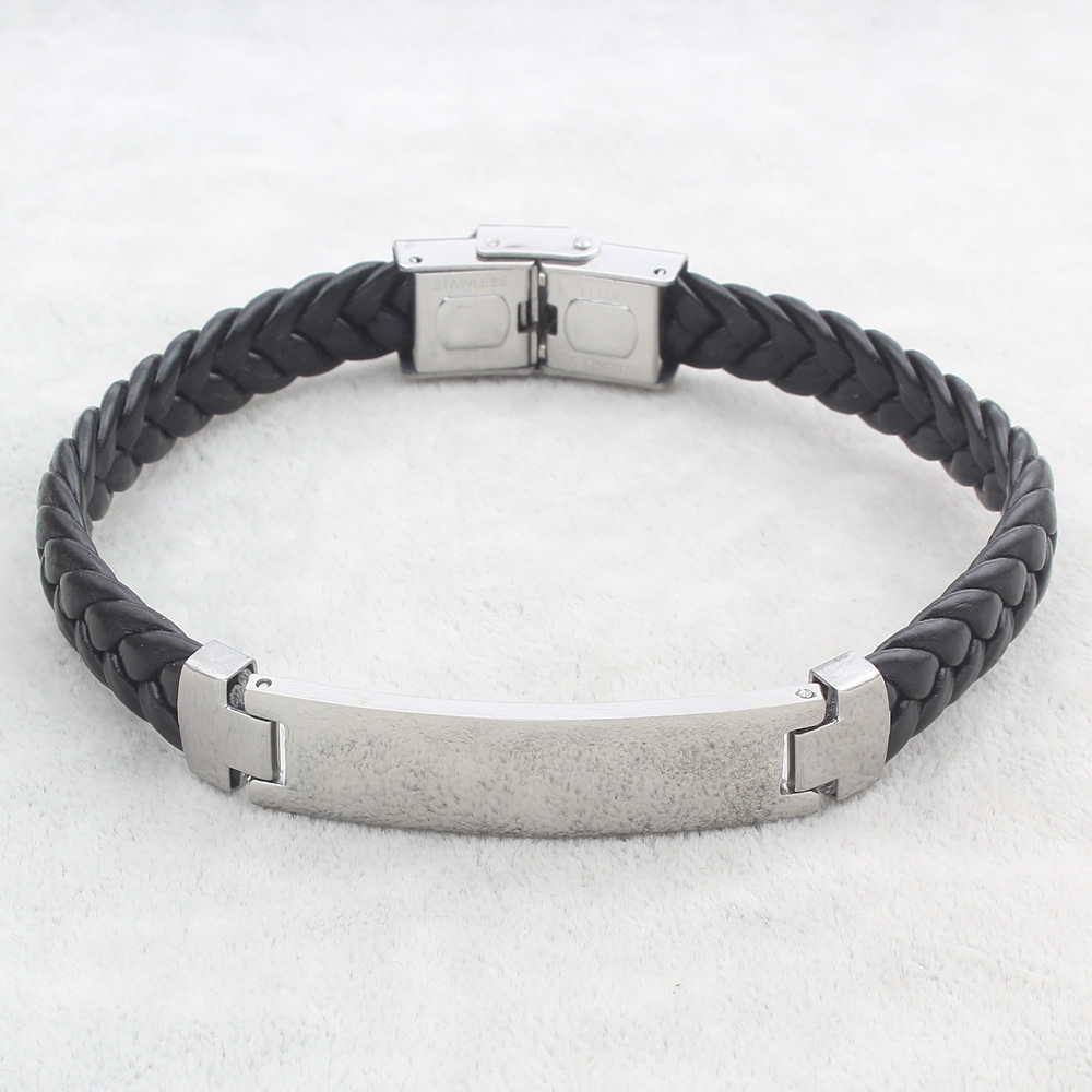 leather braided per charm bracelets men item silver with black stainless jewelry bracelet pu bangles fashion inch strand steel approx mens id cord punk for sold