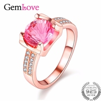 Almei Silver 925 Pink Topaz Rings For Women Made Of Natural Stones Rose Gold Plated Gemstone