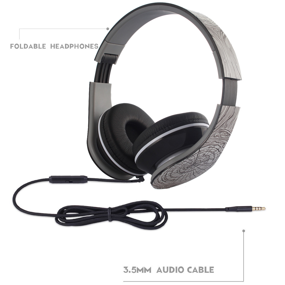 Folding Wired Style 3 5mm Audio Earphones Stereo Headset Cable for Android Smartphone Iphone PC Mp3