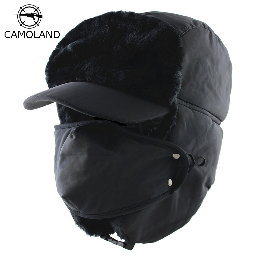 CAMOLAND 2018 Winter Men Women Trapper Trooper Hat Bomber Hat With Ear Flaps And Mask Warm Ushanka Hunting Hats Winter Men Hat