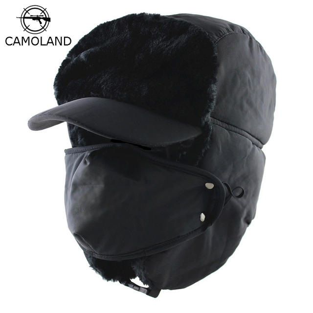 7ffdd2e7bee CAMOLAND 2018 Winter Men Women Trapper Trooper Hat Bomber Hat with Ear Flaps  and Mask Warm