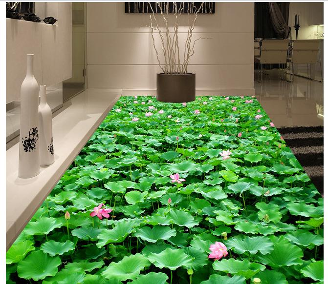 3D wall custom murals pvc floor wallpaer bathroom floor painting 3 d lotus self-adhesion floor wallpaper 3d room wallpaper 3d wallpaper custom 3d flooring painting wallpaper murals nine fish 3d stereograph floor pebbles lotus leaf room photo wallpaper