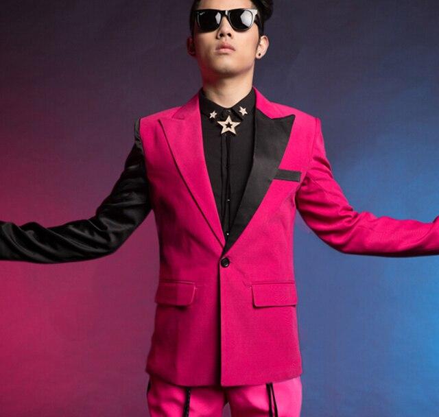 2015 nuevo estilo moda rose splice slim fit casual hombre prendas de vestir exteriores de la etapa muestran trajes para cantante para hombre hombre chaqueta blazer