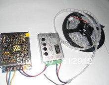 4 м DC5V 60 пикселей ws2811 встроенный из светодиодов цифровой полосы + RF контроллер + 60 Вт питания ; белый печатной платы, Водонепроницаемый в трубка