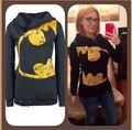 Diseño de Moda de la personalidad de Las Mujeres Batman Imprimir Hoodies Sudaderas Mujer Bolsillo Con Cremallera Con Capucha prendas de Vestir Exteriores de Las Muchachas Tops Capa de la Chaqueta