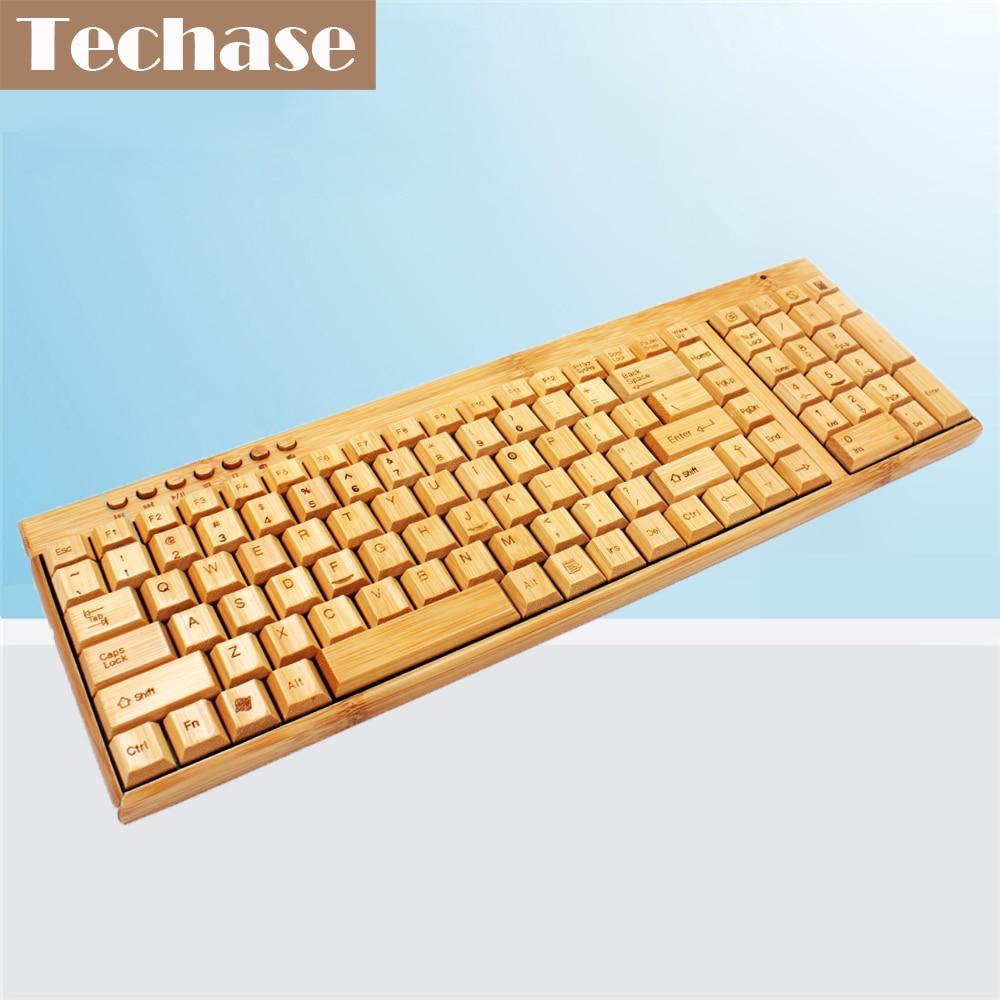 Techase Membrane Keyboard Bamboo Design Wireless Keyboard Gaming Teclado Standard Mecanico Toetsenbord 2.4GHz Teclado Sem Fio lacywear s 132 fio